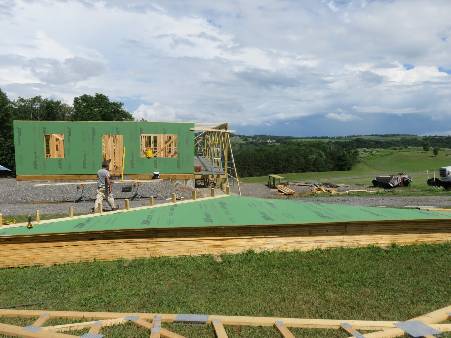 Main floor walls erected and waiting for truss installation