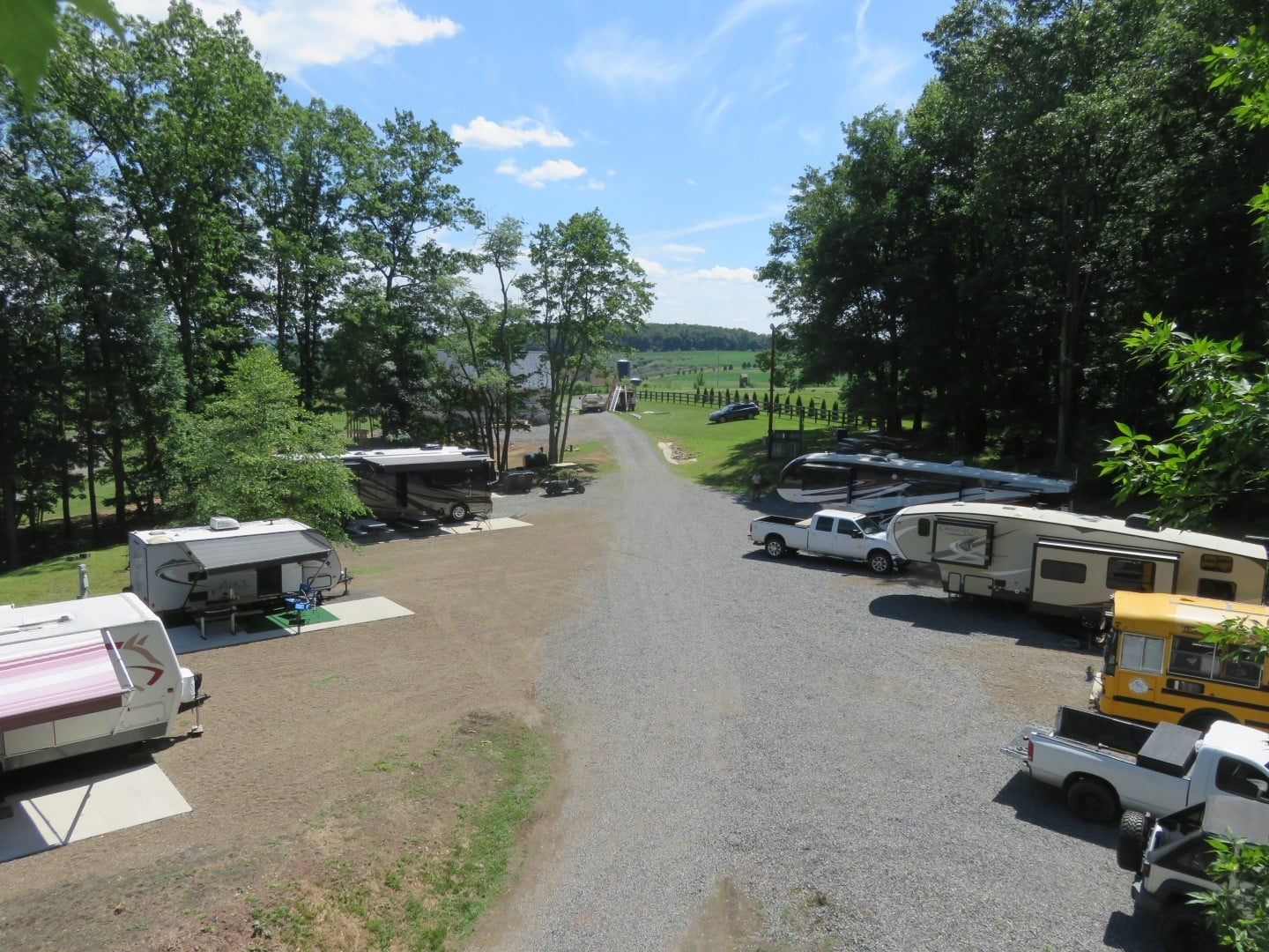 The campground full of volunteer campers